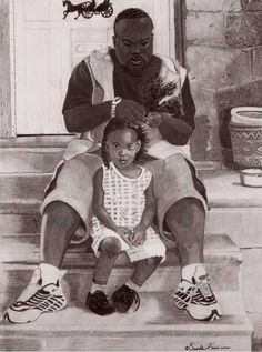 """""""In Daddy's Hands""""- Oronde Kairi I live in Oregon, so the media is my first link to other cultures. That is an incomplete picture, of course. I wish I saw more media depictions of black fathers like this. African American Art, African Art, Caricatures, Arte Black, Black Fathers, Black Art Pictures, Natural Hair Art, Art Africain, Portraits"""