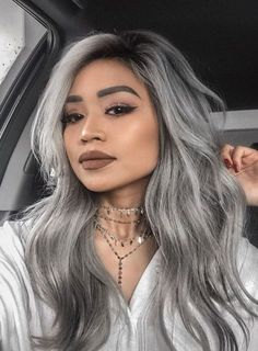 ♡THE BADDEST FEMALES♡ Balayage has become extremely popular. Here are 25 different look for balayage for black hair that have swept us off our feet. Hair Dye Colors, Ombre Hair Color, Hair Color For Black Hair, Cool Hair Color, Gray Hair, Grey Hair With Black Streaks, Sliver Hair Color, Blue Hair, Grey Dyed Hair