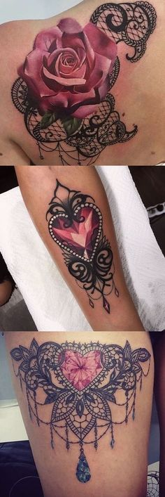 Lace Tattoo Ideas for Women at MyBodiArt.com - Heart Diamond Chandelier Thigh Tatt - Pink Rose Shoulder Tat