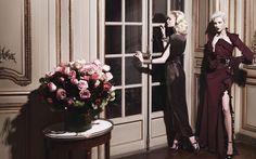 Melissa Tammerijn in a Bottega Veneta Gown and Anja Rubik in a Gucci Dress - Karl Lagerfeld High Society Fashion Editorial - Harper's BAZAAR
