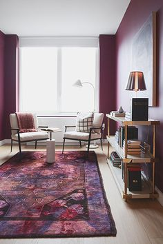 This Just Might Be Our Dream NYC Apartment #refinery29  http://www.refinery29.com/homepolish-midtown-apartment#slide-13  How adorable is this little side table? Plus, the deep-purple hue is soothing — perfect for an office.