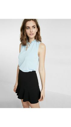 Light blue tank, cute work outfit. Pair with sweater!
