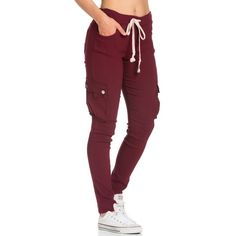 Drawstring Skinny Cargo Pants in Burgundy ($27) ❤ liked on Polyvore featuring…