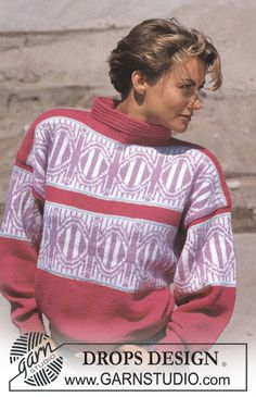 "DROPS 15-12 - DROPS jumper with circle pattern borders in ""Alpaca"". Size S-L. - Free pattern by DROPS Design"