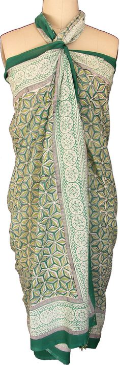 ec705412601c7 Hand Block Printed Sarong - Green snowflake - 100% cotton - Measures 44 x 74