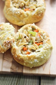 Homemade Chicken Noodle Soup in Salted Pretzel Bread Bowl