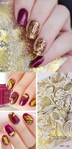 US$7.99 + Free shipping. 3D Embossed Flowers Nail Sticker. Gold Nail Sticker. Buy now!
