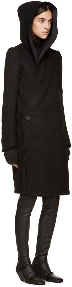 Rick Owens Black Melton Sphinx Hooded Coat