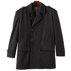 Big & Tall Domini Double-Breasted Peacoat, Men's, Size: Xl Tall, Black