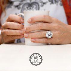Music Note Ring Bird Ring Photo Glass Jewelry Art by LadyArtTalk #musicnote #bird #musicring