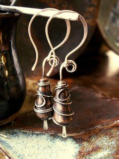 Steampunk Earrings, Sterling Silver, Copper Metalwork, Artisan Beads with Sculpted Spirals