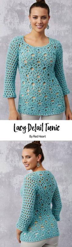 Lacy Detail Tunic free crochet pattern in Dreamy.