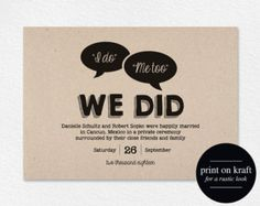 Elopement Announcement Cards Wedding Printed And Printable 70