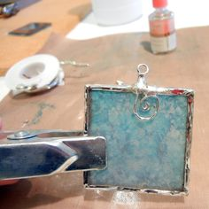 alcohol ink on glass then soldered for pendant