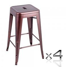 Set of 4 Steel Bar Stool 66cm - Metallic Price: $164.95