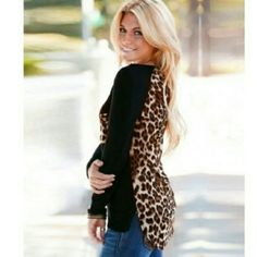 NWOT Black & Leopard Long Sleeve Top♡ NWOT Black and leopard long sleeve scoop neck long sleeve top. Purchased in Poland and never wore it. Super cute top with leopard pocket with embellished zipper, and cute faux leather detailing around neckline. Tops Tees - Long Sleeve