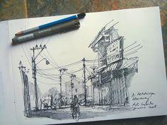 Morning Exercise, pen and pencil sketching in chinatown semarang | Urban Sketchers | Bloglovin'