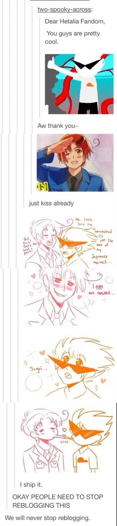 Shippin' Hetastuck! Just when I thought the Hetalia fandom couldn't get weirder we started shipping fandoms