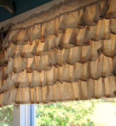 Burlap ruffle curtains to go over my sheer chiffon curtains.i like the style of the curtains but don't like the burlap. Curtains To Go, Ruffle Curtains, Burlap Curtains, Valance Curtains, Valance Ideas, Bedroom Curtains, Curtain Ideas, Valances, Bedroom Bed