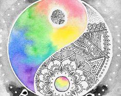 Original Yin Yang Zentangle Mandala acuarela y Arte Yin Yang, Ying Y Yang, Yin Yang Art, Ink Drawings, Cool Drawings, Art Paintings, Watercolor Paintings, Watercolor Mandala, Tattoo Watercolor