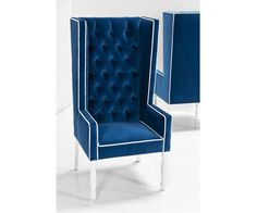Feel like the king of the dining table in this Ultra Tall Mod Wing Dining Chair in tufted Royal Blue Velvet Fabric with contrasting White Velvet welting. White Dinning Chairs, Blue Velvet Dining Chairs, Dining Room Blue, Modern Dining Chairs, Wing Chairs, Blue Chairs, Dining Tables, Accent Chairs, Upholstery Trim