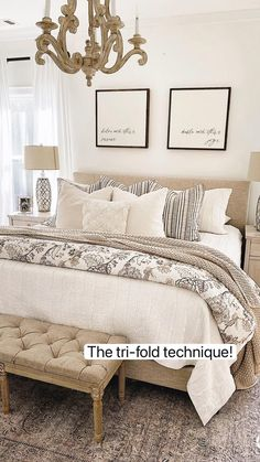 Bedding Master Bedroom, Farmhouse Master Bedroom, Master Bedroom Makeover, Master Bedroom Design, Guest Bedrooms, Home Bedroom, White Bedroom Walls, White Rustic Bedroom, Cream And White Bedroom