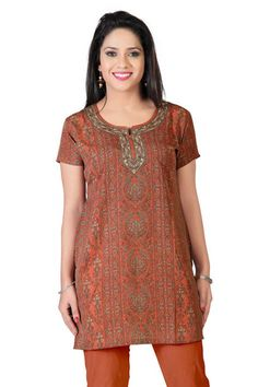 Orange Crepe Printed Kurti