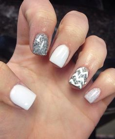 White and silver #♛ #NailTrends
