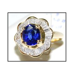 Diamond 18K Yellow Gold Unique Gemstone Blue Sapphire by BKGjewels