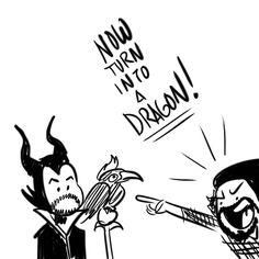 """pentacomics: """" Avi's not going to quit, is he? Mitch as Maleficent & Scott as Diablo. Best Fan, Kermit, Maleficent, Cannon, Bass, Fandoms, King, Shit Happens, Fandom"""