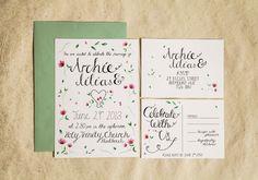Hand Drawn Floral Wedding Stationery set - Secret Garden Inspired watercolour Invitation, RSVP