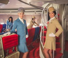 The elegant Pan Am Fight attendants back in the day when flying was glamorous and we dressed up to fly.