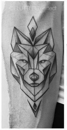 Geometric Wolf by Carina Schmidt Flutterby-effect in Offenburg Germany Mais Strong Tattoos, Wolf Tattoos, Feather Tattoos, Star Tattoos, Animal Tattoos, Forearm Tattoos, New Tattoos, Tattoos For Guys, Tattoo Arm