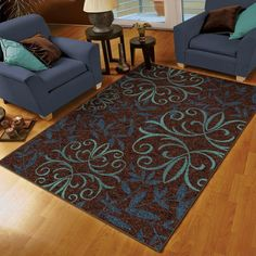 Bring the outside in with this beautiful damask patterned area Rug. This rug offers beautiful blue and brown flowers that add cool charm inside and out. This rug is sure to add beauty to any room in your home. Brown Living Room Paint, Brown And Blue Living Room, Living Room Colors, Diy Mirror Frame Bathroom, Modern Bathroom Tile, Bathroom Rugs, Ideal Bathrooms, Interior Rugs, Carpet Sale