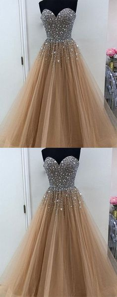 sweetheart champagne tulle long prom/evening dresses   #prom   #promdress   #promdresses   #prom2018    #eveningdresss #evening dresses