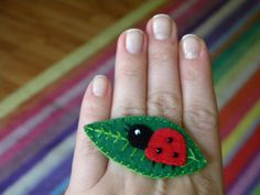 Felt lady bird handmade broche