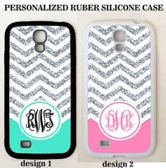 PERSONALIZE MONOGRAM MINT PINK SILVER CHEVRON CASE FOR SAMSUNG Galaxy S8 S7 NOTE #UnbrandedGeneric
