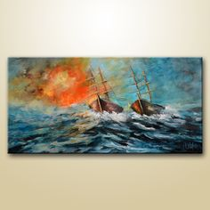This abstract sailboat painting is made on high quality canvas, with the finest acrylic materials and it is varnished for protection Sailboat Painting, Seascape Paintings, Fire, Abstract, Canvas, Artist, Summary, Tela, Canvases