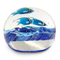"""Lundberg Studios has a beautiful line of paperweights with gorgeous detail. Featured below is the Blue Tropical Tide Pool Mini Paperweight. This stunning and detailed paperweight is 2.75"""" in diameter and 2.5"""" tall.  #paperweight #pretty #lundberg #artglass #orlando #winterpark"""