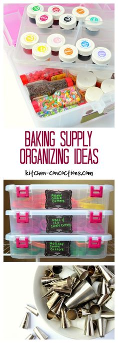 Baking Supply Organizing Ideas - If you are an avid cake baker and cookie decorator, all those baking supplies can quickly take over your kitchen. Check out these baking supply organizing ideas and ta (Baking Tools Organization) Baking Storage, Baking Organization, Cake Storage, Organizing Ideas, Tool Storage, Diy Storage, Room Organization, Baking Business, Cake Business
