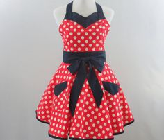Womens Polka Dot Retro Apron Red White and by StitchedbyBeverly