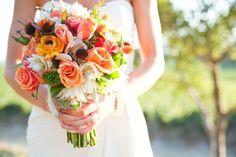 bright bouquets | whimsical bridal bouquet bright elegant wedding flowers | OneWed.com