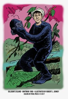 Gilligan in a Gorilla Suit - Gilligan's Island Whitman Authorized TV Adventures 1966 (Western Publishing)Illustrated by Robert L. Colors by Peril Press Dec. written by William Johnston Gorilla Suit, Cartoon Books, Tv, Cartoon Drawings, Childhood Memories, Batman, Sketches, Island, Adventure