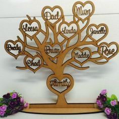 Laser Cut Wooden and Acrylic Decor. - Personalised wooden family tree with hearts Wood Laser Ideas, Personalised Family Tree, Lazer Cut, Wooden Tree, Wood Gifts, Custom Wood, Tree Decorations, Laser Cutting, Appliances