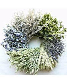 Wheat wreath. $55.99 Little Cutie Flower Wheat Wreath - 15 inch Artemisia, Larkspur, Lavender, Avena, Orientalis, Beardless Wheat