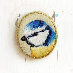Blue Tit  bird . brooch . handmade . felt . needle by cOnieco, zł155.00