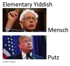 "Mensch - ""a decent, upright, mature, and responsible person"" Putz:fool; jerk."