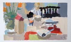 ngruskin: Nancy Gruskin, Sunday Morning, acrylic gouache on paper, 2014.