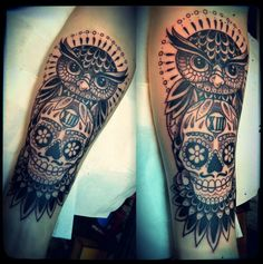 cool owl tattoos and skull for men Inspiring Mode Owl Skull Tattoos, Owl Thigh Tattoos, Mens Owl Tattoo, Leg Tattoo Men, Foot Tattoos, Sleeve Tattoos, Garter Tattoos, Rosary Tattoos, Crown Tattoos