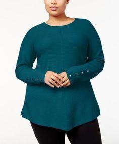 Alfani Plus Size Ribbed-Knit Tunic Sweater, Created for Macy's - Purple 3X